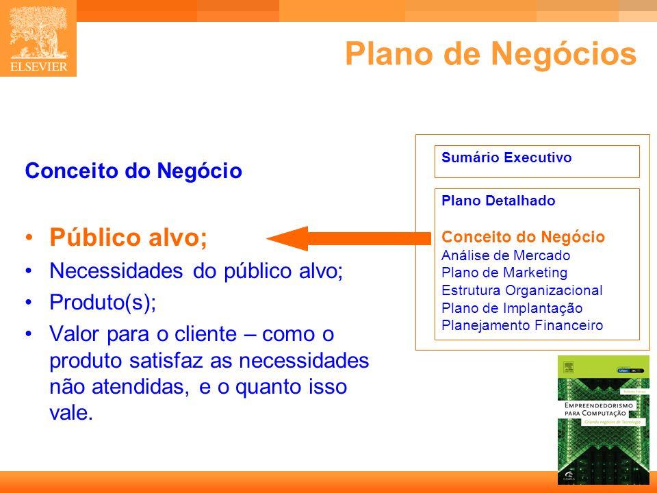 10 Capa Plano de Negócios Conceito do Negócio Público alvo; Necessidades do público alvo; Produto(s); Valor para o cliente – como o produto satisfaz a