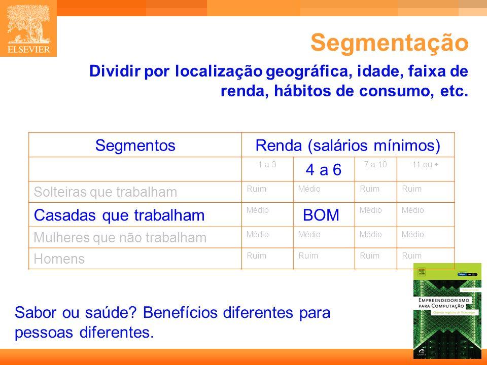 13 Capa Segmentação Sabor ou saúde? Benefícios diferentes para pessoas diferentes. Dividir por localização geográfica, idade, faixa de renda, hábitos