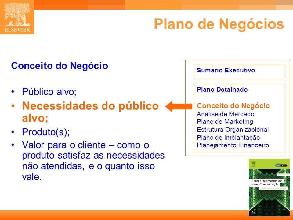 15 Capa Plano de Negócios Conceito do Negócio Público alvo; Necessidades do público alvo; Produto(s); Valor para o cliente – como o produto satisfaz a