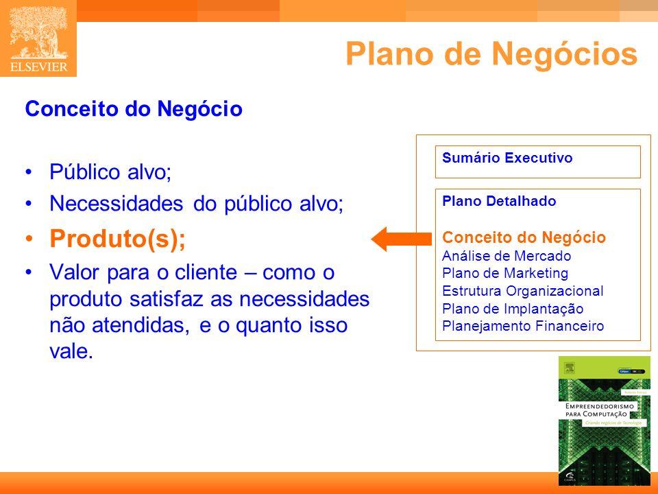 22 Capa Plano de Negócios Conceito do Negócio Público alvo; Necessidades do público alvo; Produto(s); Valor para o cliente – como o produto satisfaz a