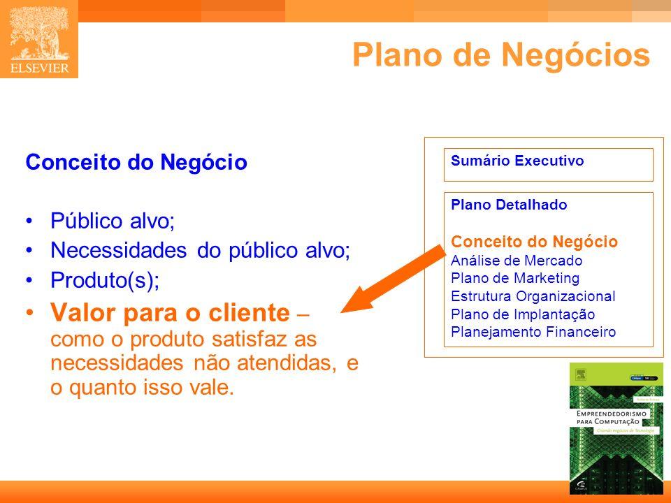 25 Capa Plano de Negócios Conceito do Negócio Público alvo; Necessidades do público alvo; Produto(s); Valor para o cliente – como o produto satisfaz a