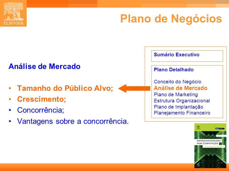 29 Capa Plano de Negócios Análise de Mercado Tamanho do Público Alvo; Crescimento; Concorrência; Vantagens sobre a concorrência. Sumário Executivo Pla
