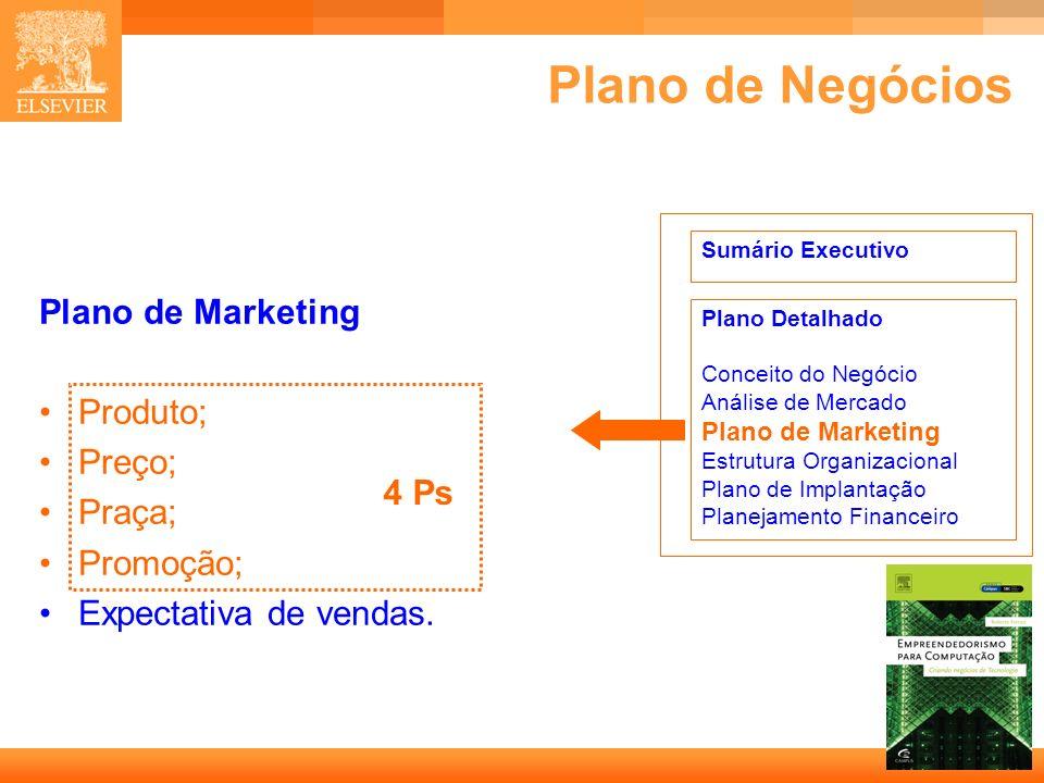 38 Capa Plano de Negócios Plano de Marketing Produto; Preço; Praça; Promoção; Expectativa de vendas. Sumário Executivo Plano Detalhado Conceito do Neg
