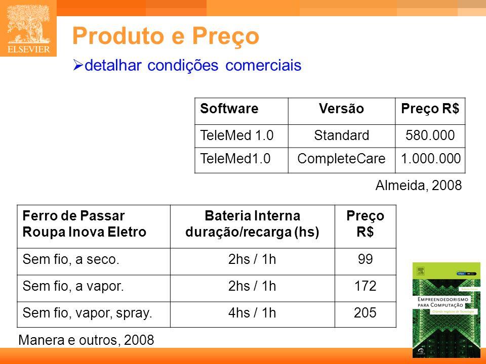 39 Capa Produto e Preço detalhar condições comerciais SoftwareVersãoPreço R$ TeleMed 1.0Standard580.000 TeleMed1.0CompleteCare1.000.000 Almeida, 2008