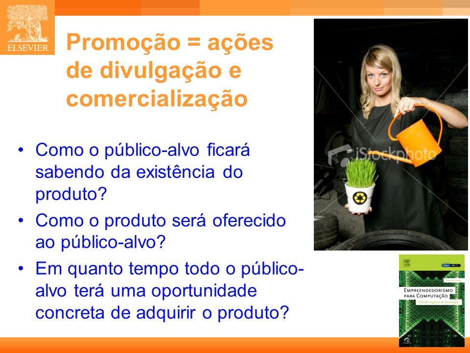 41 Capa Promoção = ações de divulgação e comercialização Como o público-alvo ficará sabendo da existência do produto? Como o produto será oferecido ao