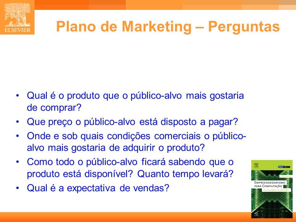 46 Capa Plano de Marketing – Perguntas Qual é o produto que o público-alvo mais gostaria de comprar? Que preço o público-alvo está disposto a pagar? O