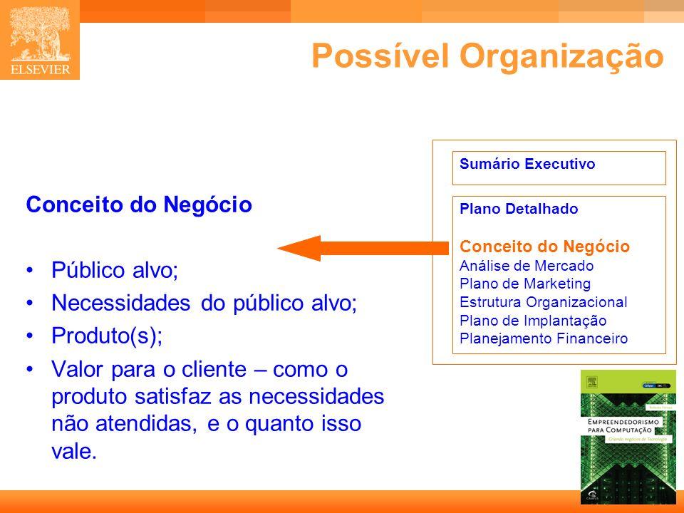 5 Capa Possível Organização Conceito do Negócio Público alvo; Necessidades do público alvo; Produto(s); Valor para o cliente – como o produto satisfaz