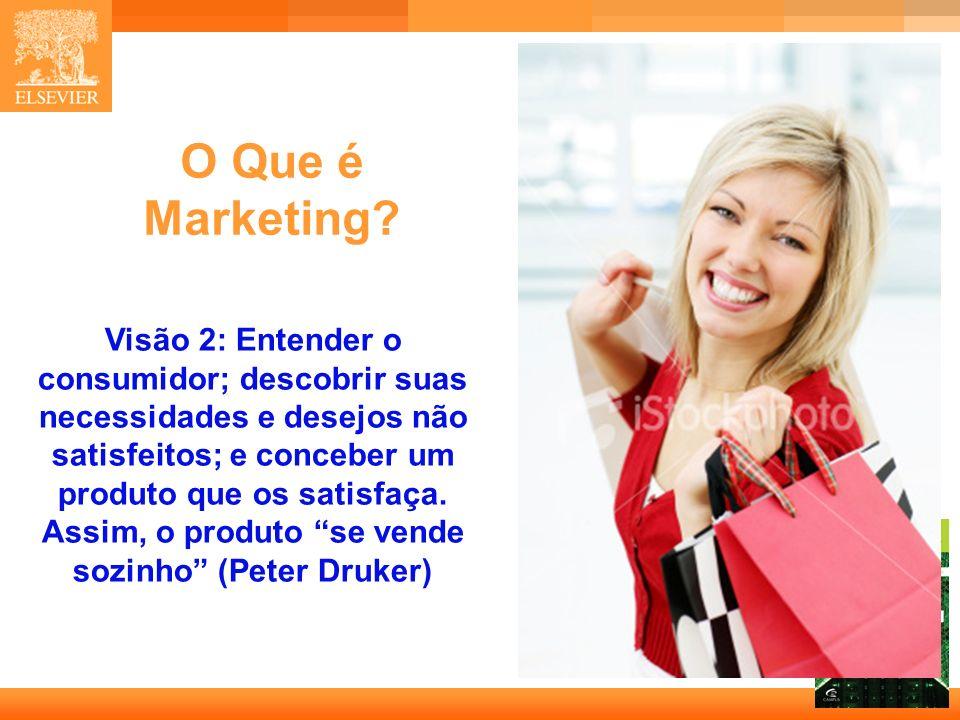 8 Capa O Que é Marketing? Visão 2: Entender o consumidor; descobrir suas necessidades e desejos não satisfeitos; e conceber um produto que os satisfaç