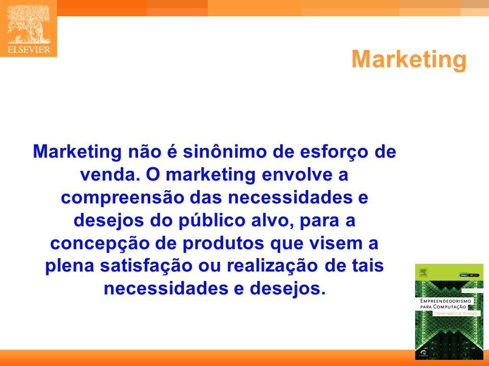 9 Capa Marketing Marketing não é sinônimo de esforço de venda. O marketing envolve a compreensão das necessidades e desejos do público alvo, para a co