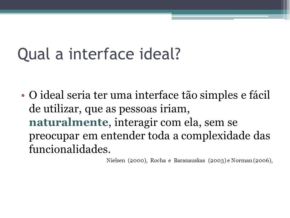 Qual a interface ideal? O ideal seria ter uma interface tão simples e fácil de utilizar, que as pessoas iriam, naturalmente, interagir com ela, sem se