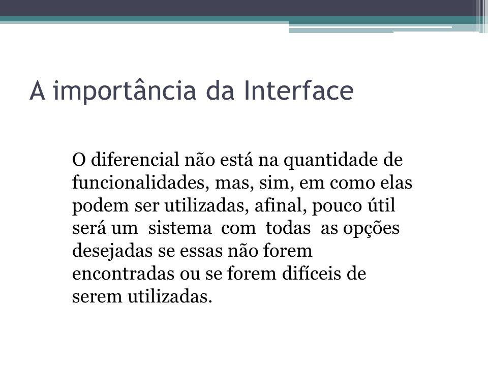 A importância da Interface O diferencial não está na quantidade de funcionalidades, mas, sim, em como elas podem ser utilizadas, afinal, pouco útil se
