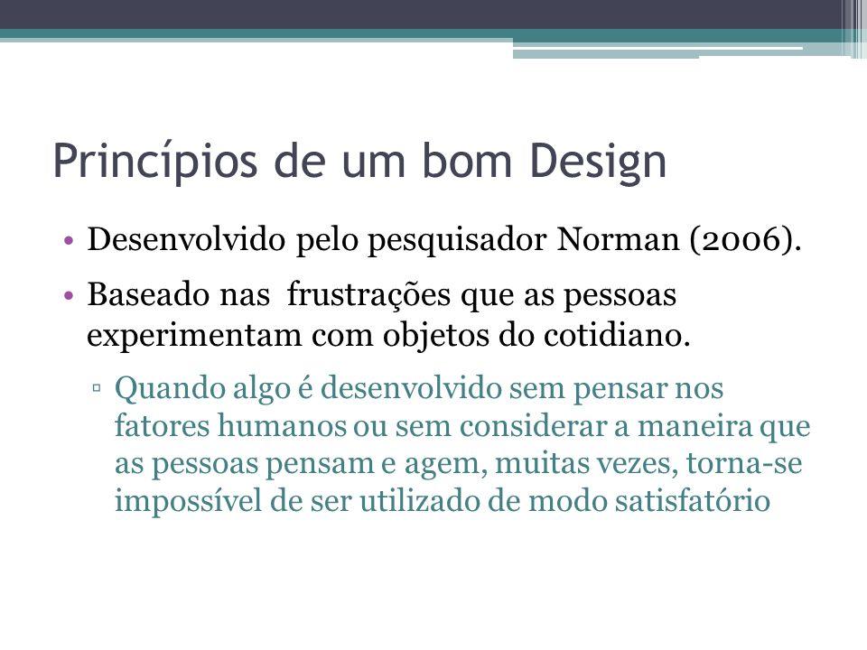 Princípios de um bom Design Desenvolvido pelo pesquisador Norman (2006). Baseado nas frustrações que as pessoas experimentam com objetos do cotidiano.