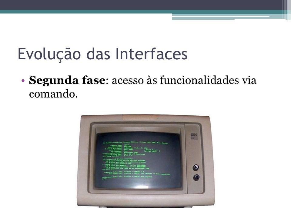 Evolução das Interfaces Segunda fase: acesso às funcionalidades via comando.
