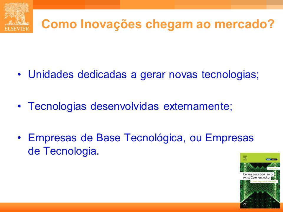 12 Capa Como Inovações chegam ao mercado? Unidades dedicadas a gerar novas tecnologias; Tecnologias desenvolvidas externamente; Empresas de Base Tecno