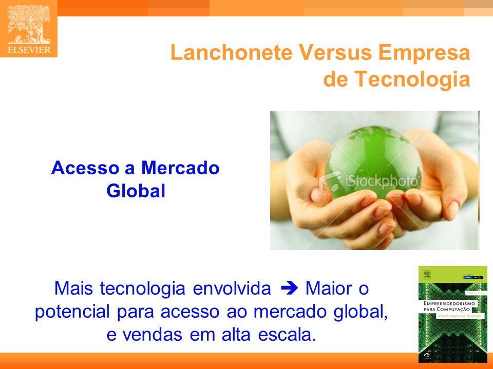 15 Capa Lanchonete Versus Empresa de Tecnologia Acesso a Mercado Global Mais tecnologia envolvida Maior o potencial para acesso ao mercado global, e v