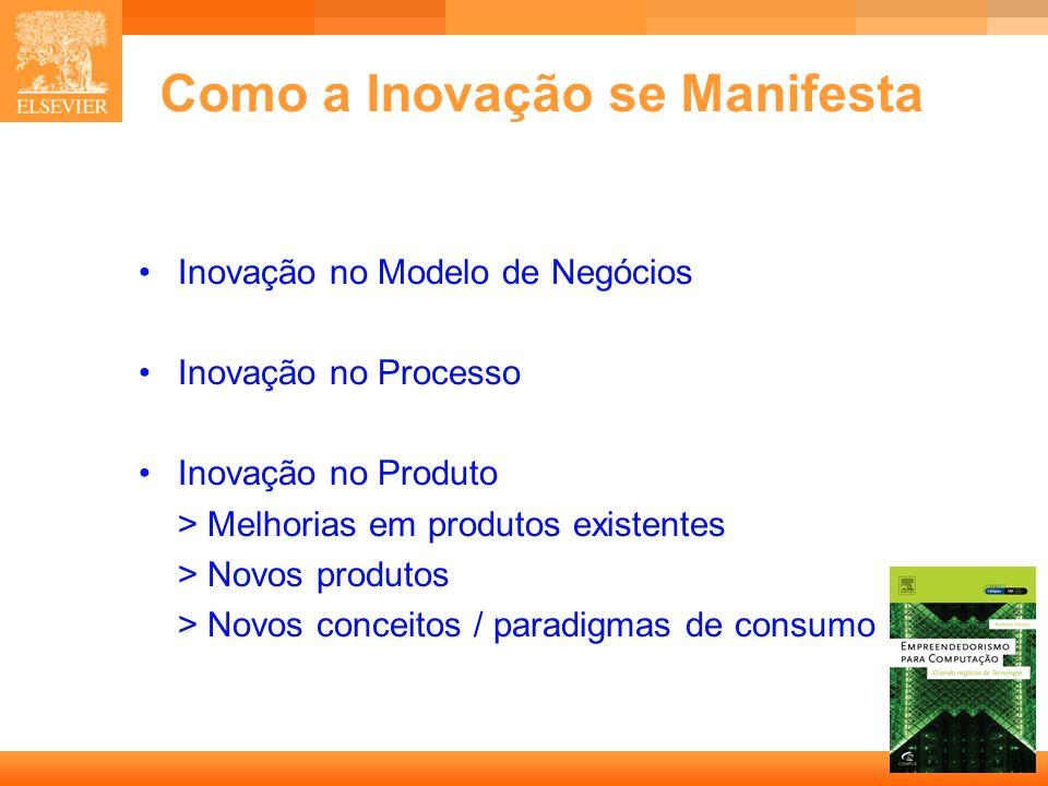 5 Capa Como a Inovação se Manifesta Inovação no Modelo de Negócios Inovação no Processo Inovação no Produto > Melhorias em produtos existentes > Novos