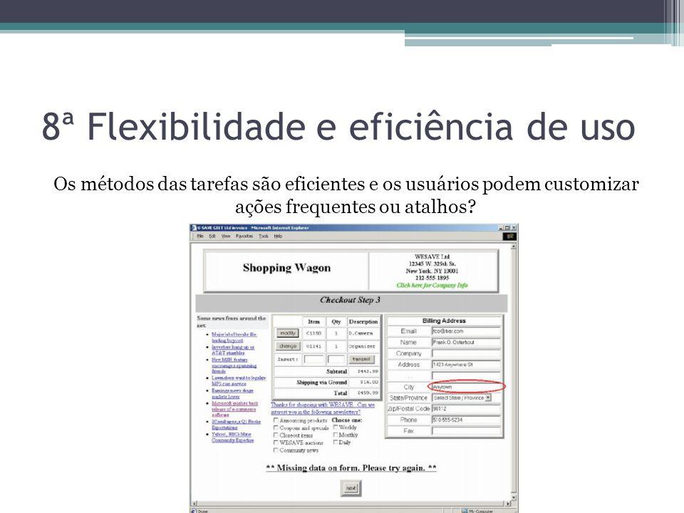 8ª Flexibilidade e eficiência de uso Os métodos das tarefas são eficientes e os usuários podem customizar ações frequentes ou atalhos?