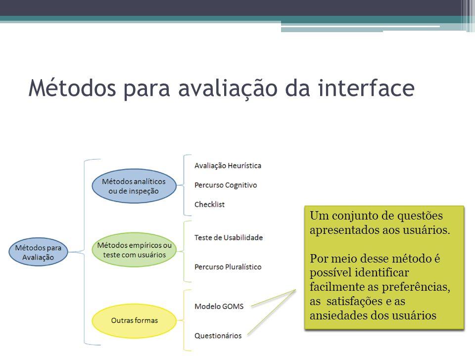 Métodos para avaliação da interface Ele estipula um tempo possível para que um usuário possa tomar uma decisão, como, por exemplo, pensar em clicar nu