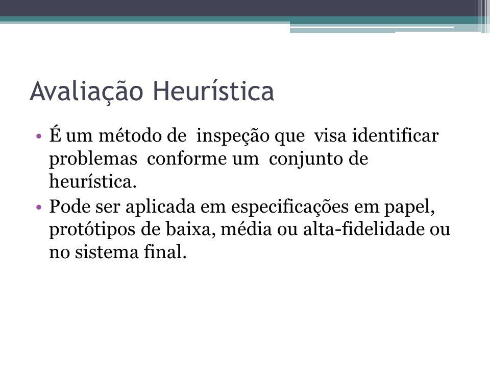Avaliação Heurística É um método de inspeção que visa identificar problemas conforme um conjunto de heurística. Pode ser aplicada em especificações em