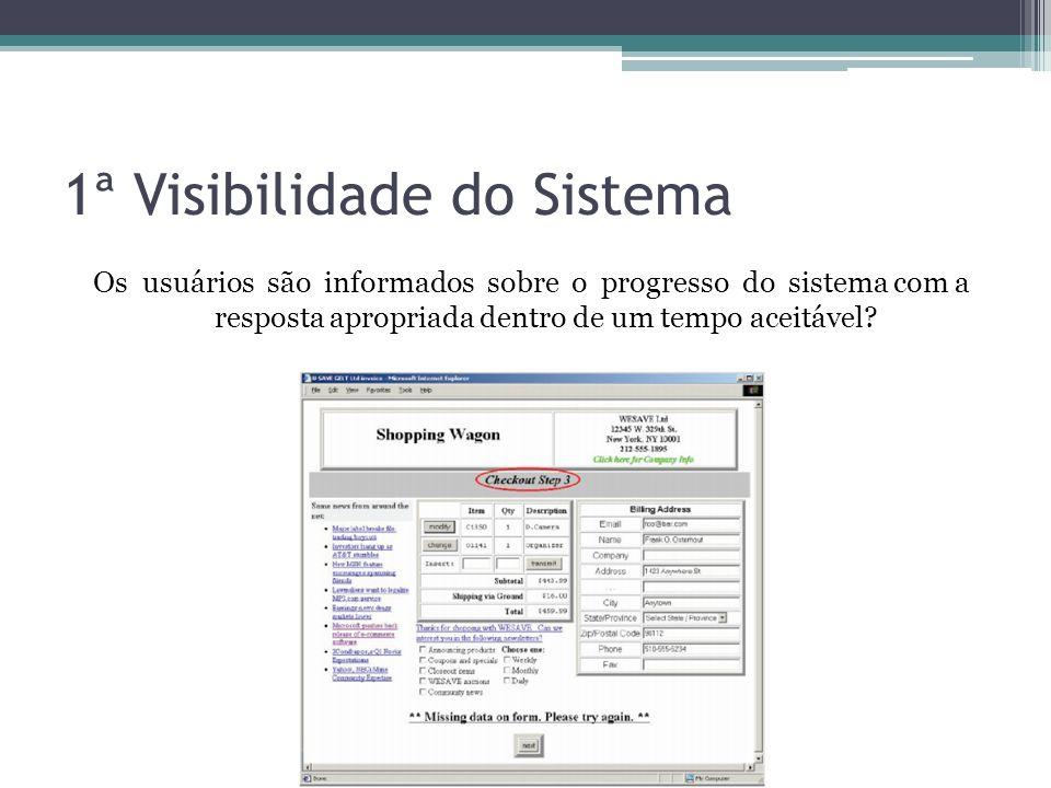 1ª Visibilidade do Sistema Os usuários são informados sobre o progresso do sistema com a resposta apropriada dentro de um tempo aceitável?