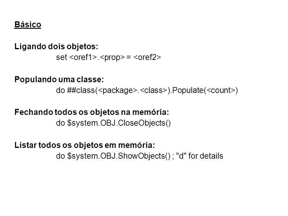 Básico Ligando dois objetos: set. = Populando uma classe: do ##class(.