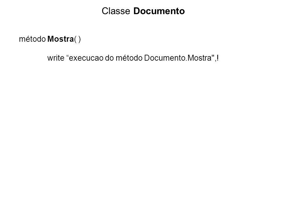 Classe Documento método Mostra( ) write execucao do método Documento.Mostra ,!