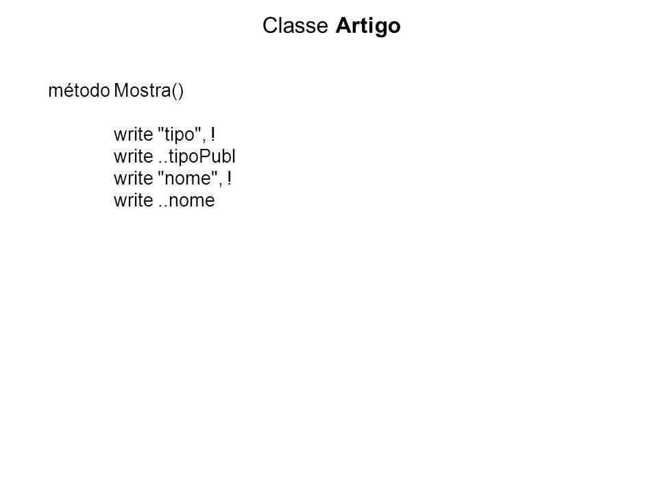 Classe Artigo método Mostra() write tipo , ! write..tipoPubl write nome , ! write..nome