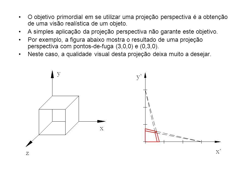 O objetivo primordial em se utilizar uma projeção perspectiva é a obtenção de uma visão realística de um objeto. A simples aplicação da projeção persp