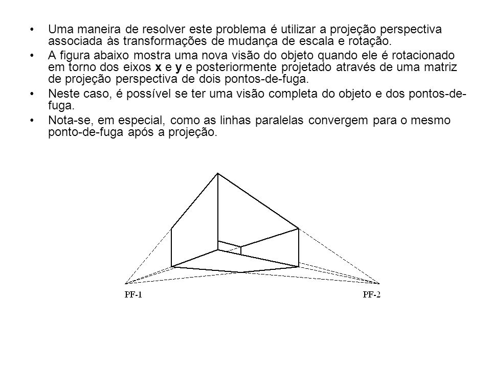 Uma maneira de resolver este problema é utilizar a projeção perspectiva associada às transformações de mudança de escala e rotação. A figura abaixo mo