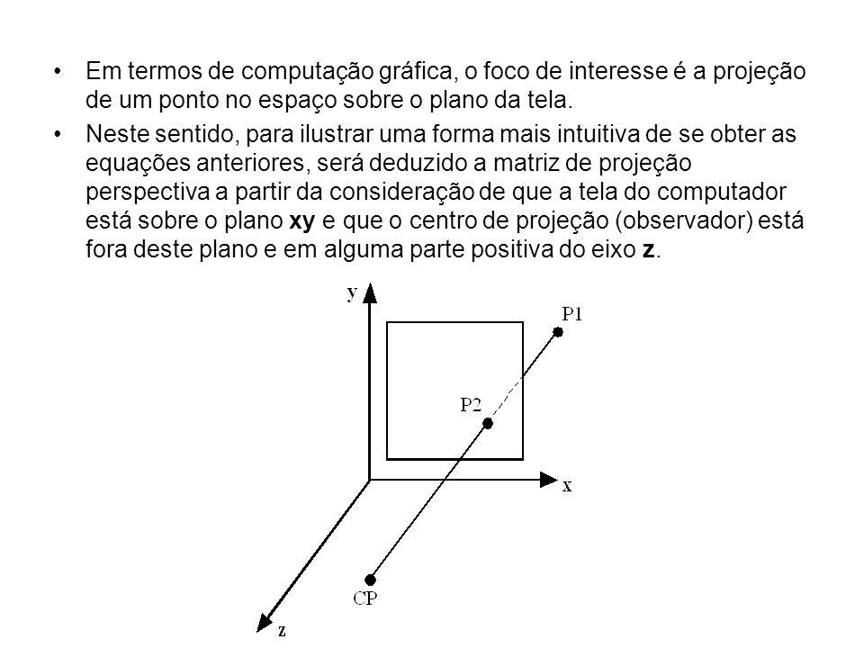 Em termos de computação gráfica, o foco de interesse é a projeção de um ponto no espaço sobre o plano da tela.