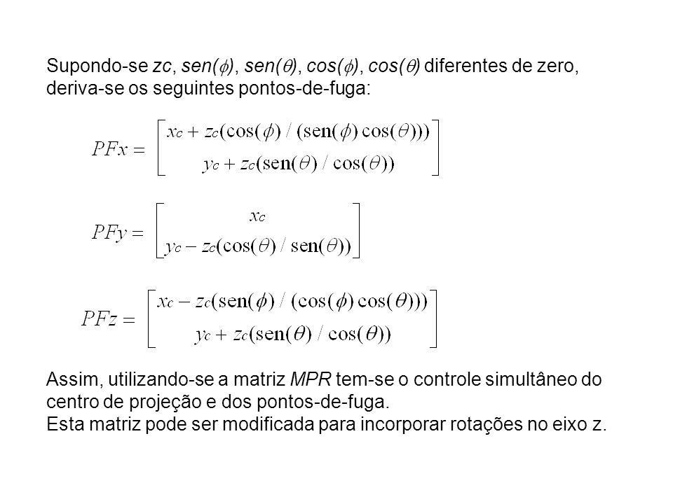 Supondo-se zc, sen( ), sen( ), cos( ), cos( ) diferentes de zero, deriva-se os seguintes pontos-de-fuga: Assim, utilizando-se a matriz MPR tem-se o controle simultâneo do centro de projeção e dos pontos-de-fuga.