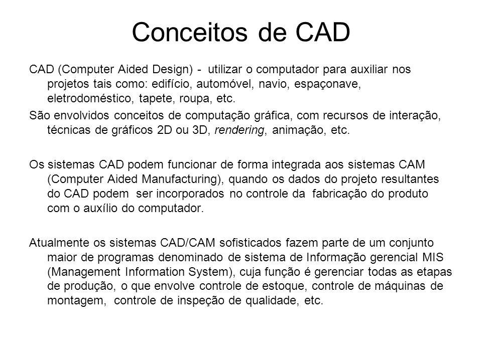 Conceitos de CAD CAD (Computer Aided Design) - utilizar o computador para auxiliar nos projetos tais como: edifício, automóvel, navio, espaçonave, eletrodoméstico, tapete, roupa, etc.