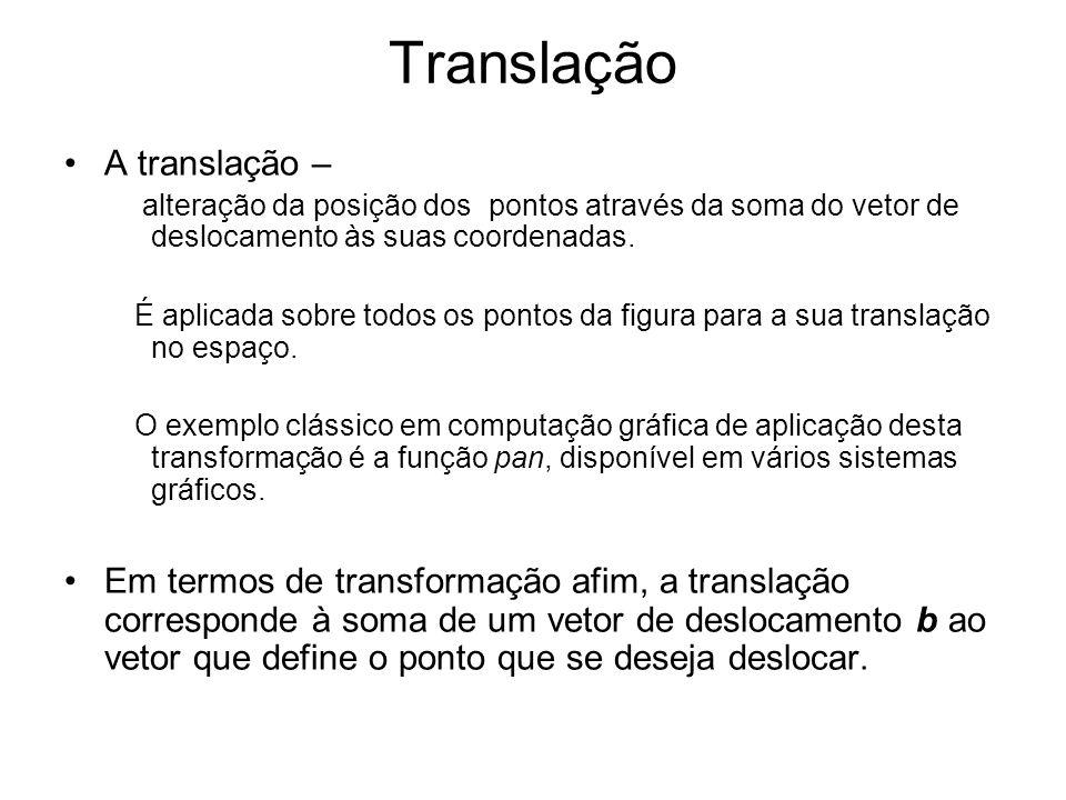 Translação A translação – alteração da posição dos pontos através da soma do vetor de deslocamento às suas coordenadas. É aplicada sobre todos os pont