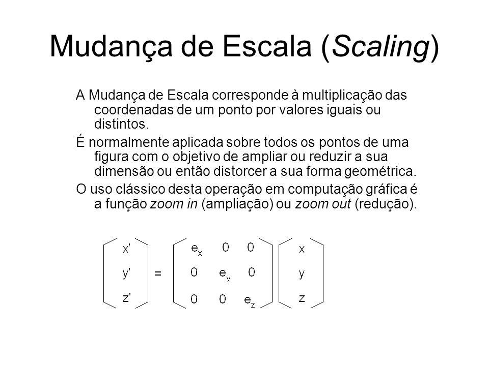 Mudança de Escala (Scaling) A Mudança de Escala corresponde à multiplicação das coordenadas de um ponto por valores iguais ou distintos. É normalmente