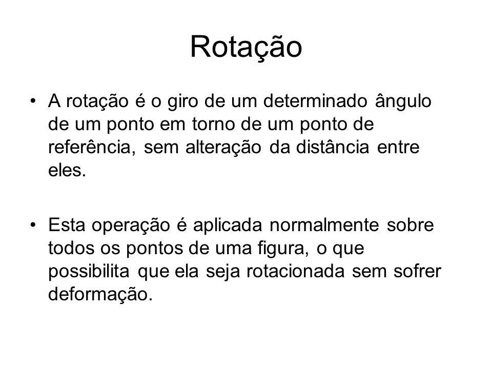 Rotação A rotação é o giro de um determinado ângulo de um ponto em torno de um ponto de referência, sem alteração da distância entre eles. Esta operaç