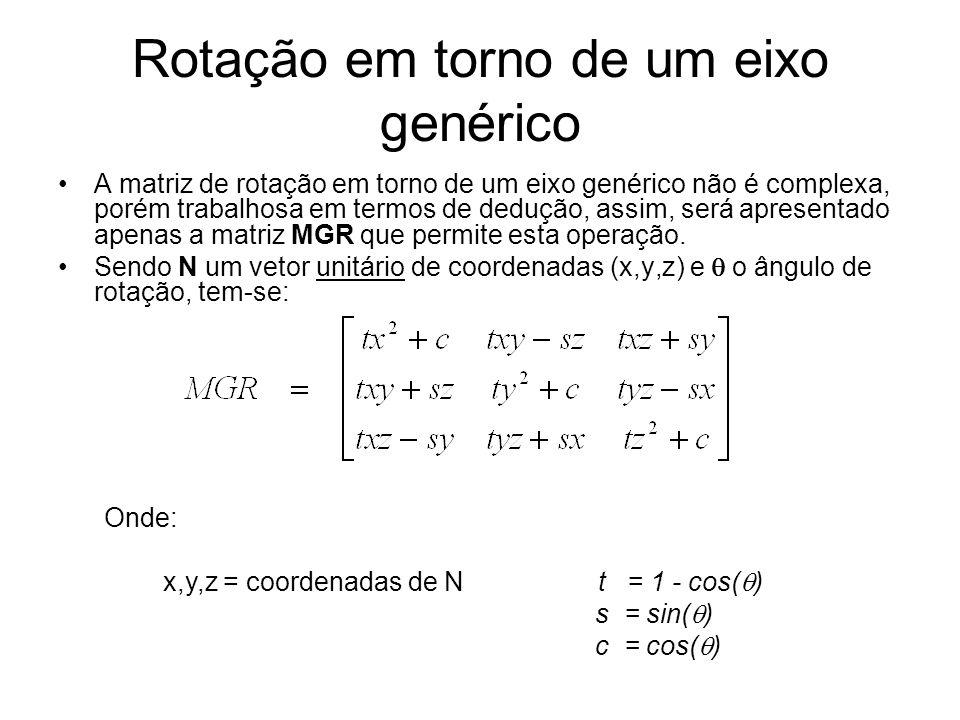 Rotação em torno de um eixo genérico A matriz de rotação em torno de um eixo genérico não é complexa, porém trabalhosa em termos de dedução, assim, será apresentado apenas a matriz MGR que permite esta operação.