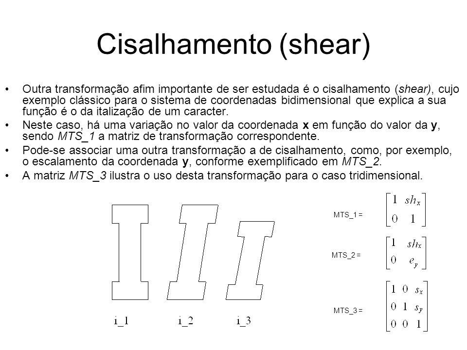 Cisalhamento (shear) Outra transformação afim importante de ser estudada é o cisalhamento (shear), cujo exemplo clássico para o sistema de coordenadas bidimensional que explica a sua função é o da italização de um caracter.