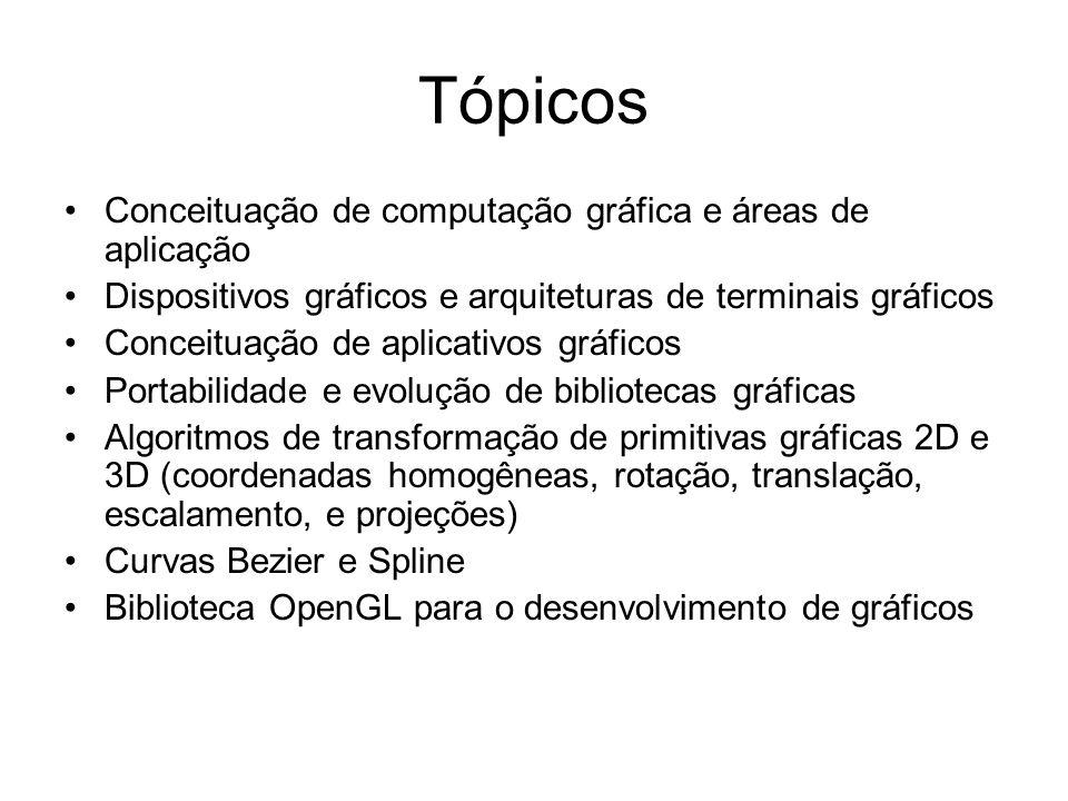 Tópicos Conceituação de computação gráfica e áreas de aplicação Dispositivos gráficos e arquiteturas de terminais gráficos Conceituação de aplicativos