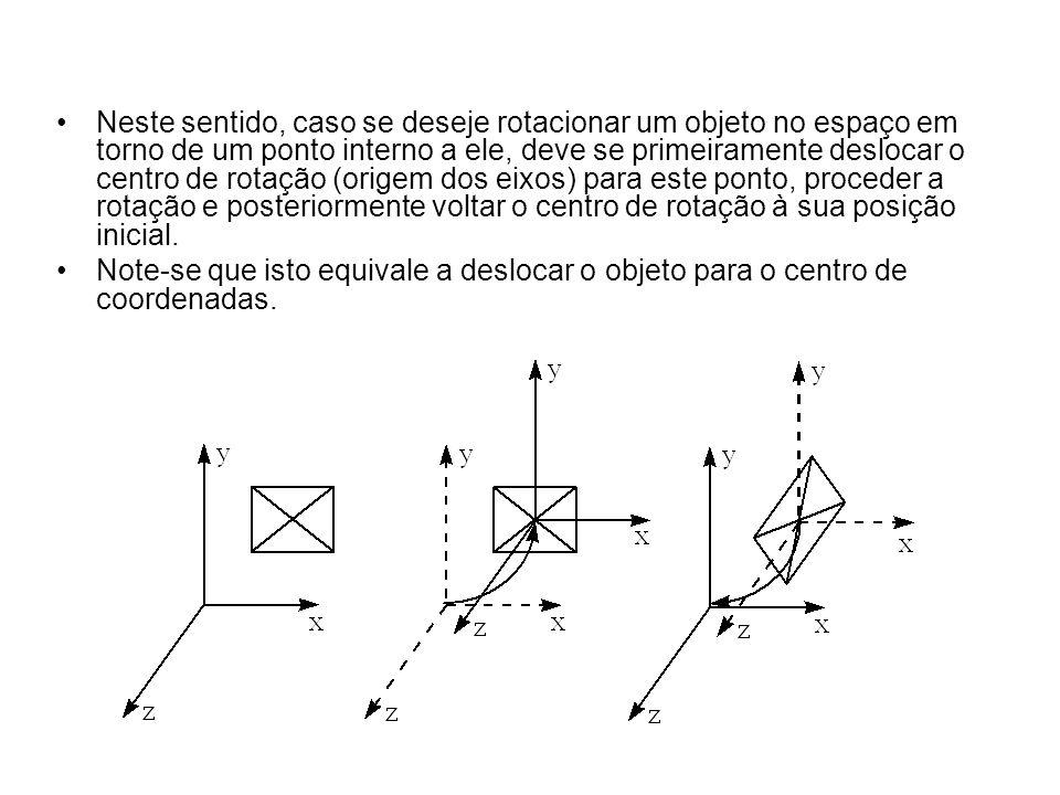 Neste sentido, caso se deseje rotacionar um objeto no espaço em torno de um ponto interno a ele, deve se primeiramente deslocar o centro de rotação (o