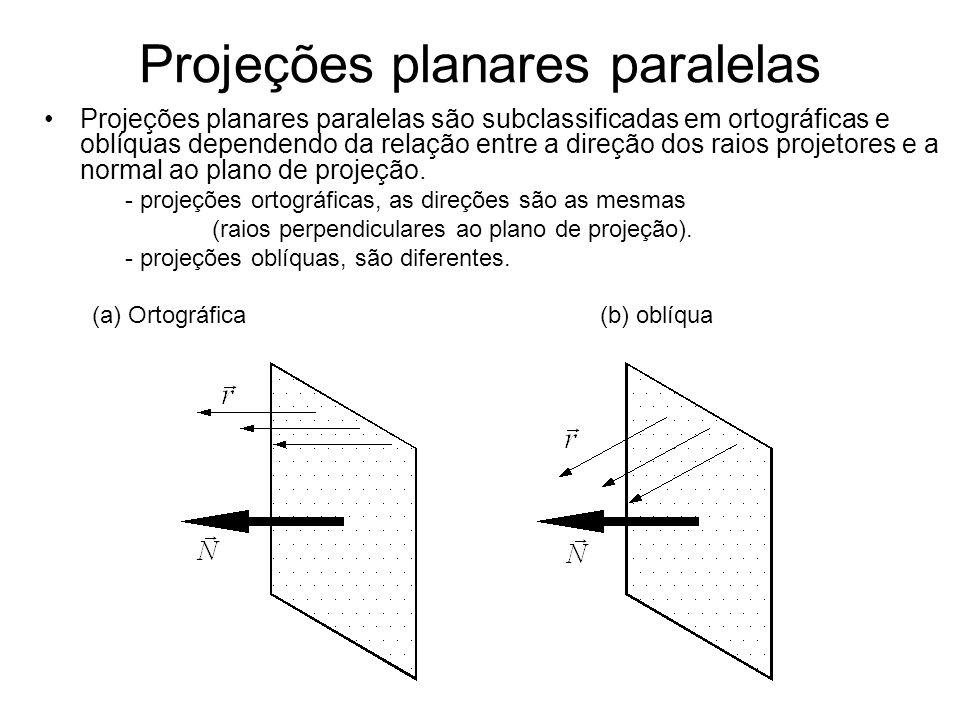 Projeções planares paralelas Projeções planares paralelas são subclassificadas em ortográficas e oblíquas dependendo da relação entre a direção dos raios projetores e a normal ao plano de projeção.