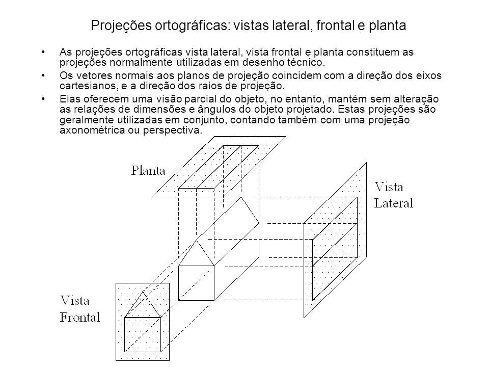 Projeções ortográficas: vistas lateral, frontal e planta As projeções ortográficas vista lateral, vista frontal e planta constituem as projeções norma