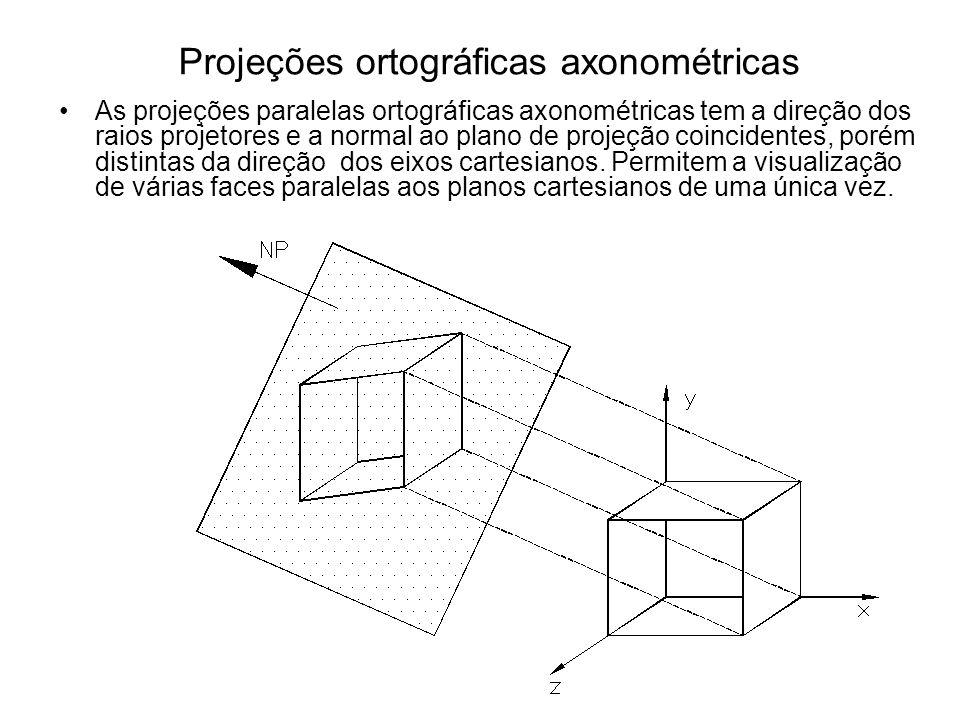 Projeções ortográficas axonométricas As projeções paralelas ortográficas axonométricas tem a direção dos raios projetores e a normal ao plano de proje