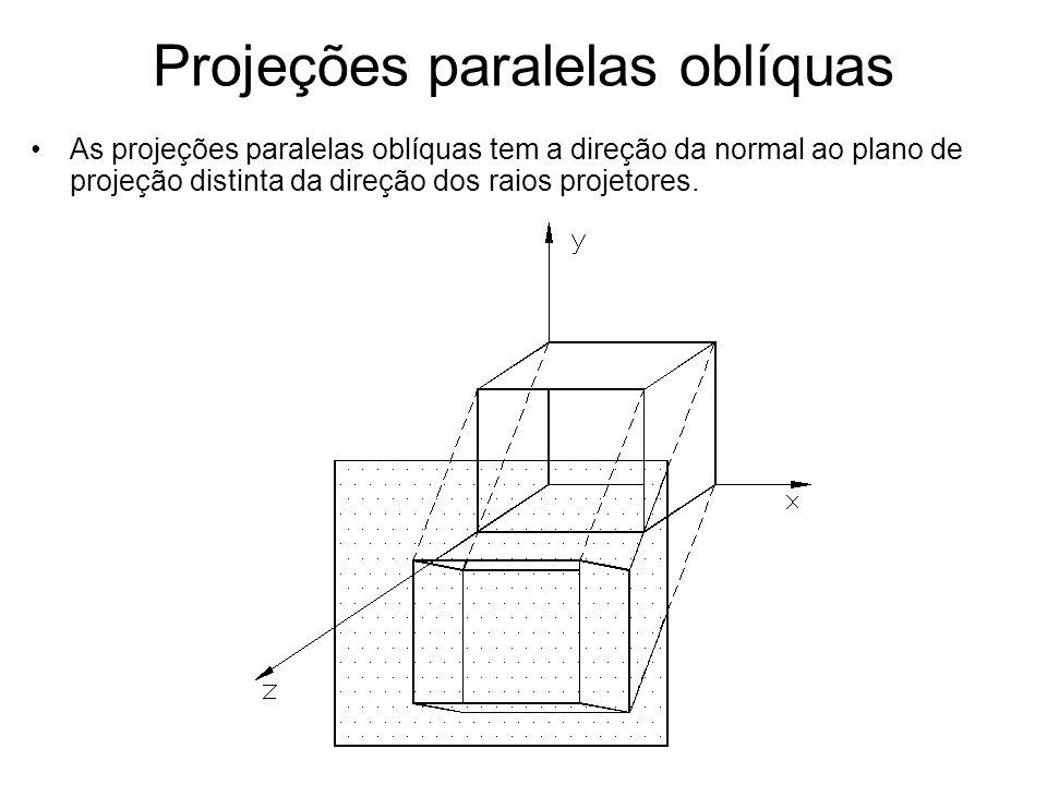 Projeções paralelas oblíquas As projeções paralelas oblíquas tem a direção da normal ao plano de projeção distinta da direção dos raios projetores.