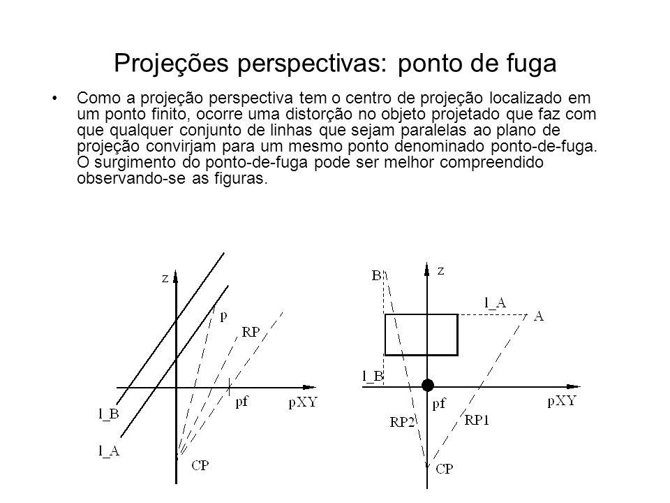 Projeções perspectivas: ponto de fuga Como a projeção perspectiva tem o centro de projeção localizado em um ponto finito, ocorre uma distorção no objeto projetado que faz com que qualquer conjunto de linhas que sejam paralelas ao plano de projeção convirjam para um mesmo ponto denominado ponto-de-fuga.