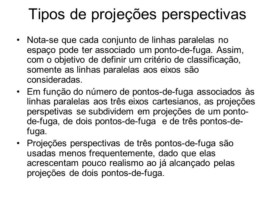 Tipos de projeções perspectivas Nota-se que cada conjunto de linhas paralelas no espaço pode ter associado um ponto-de-fuga.