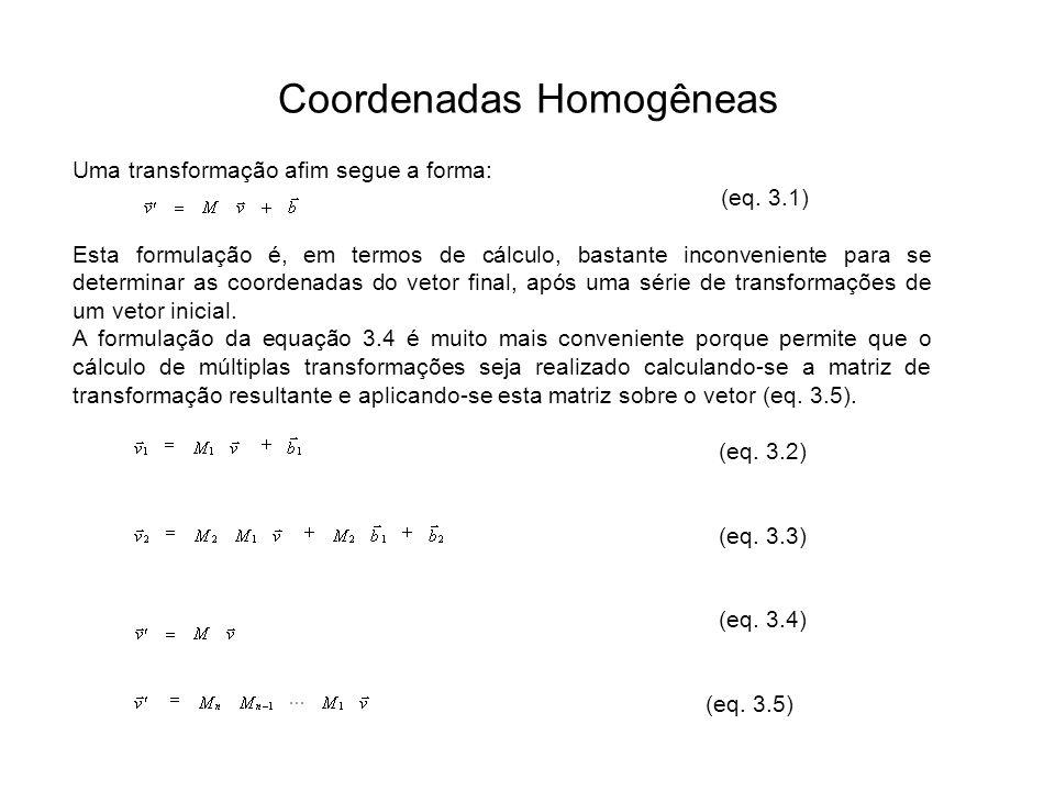 Coordenadas Homogêneas Uma transformação afim segue a forma: (eq. 3.1) Esta formulação é, em termos de cálculo, bastante inconveniente para se determi