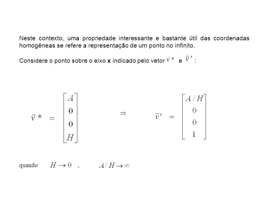 Neste contexto, uma propriedade interessante e bastante útil das coordenadas homogêneas se refere a representação de um ponto no infinito. Considere o