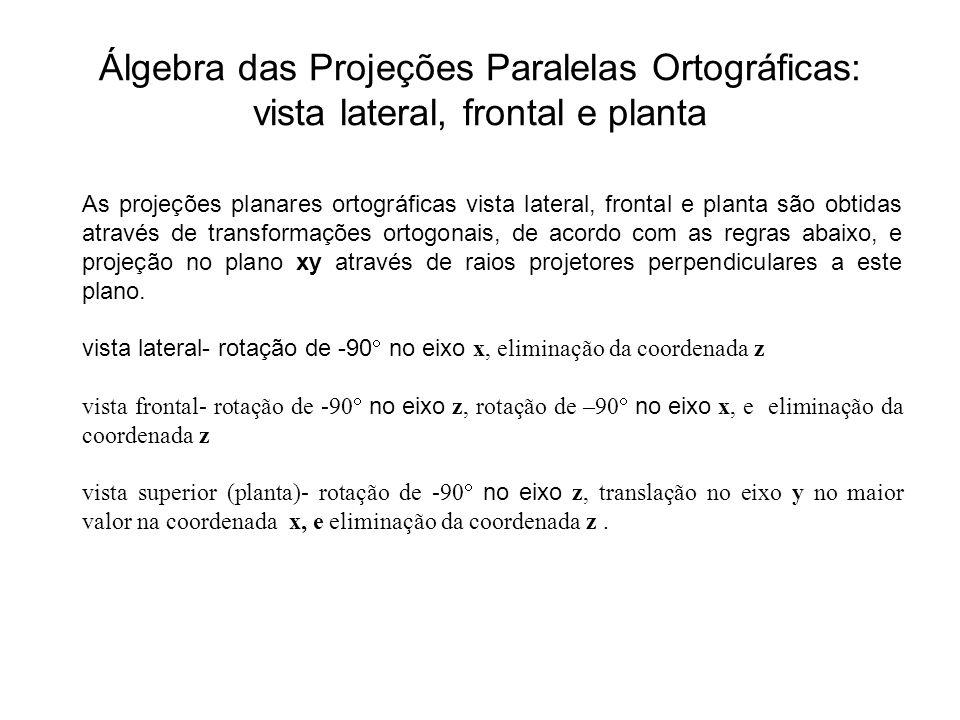 Álgebra das Projeções Paralelas Ortográficas: vista lateral, frontal e planta As projeções planares ortográficas vista lateral, frontal e planta são o
