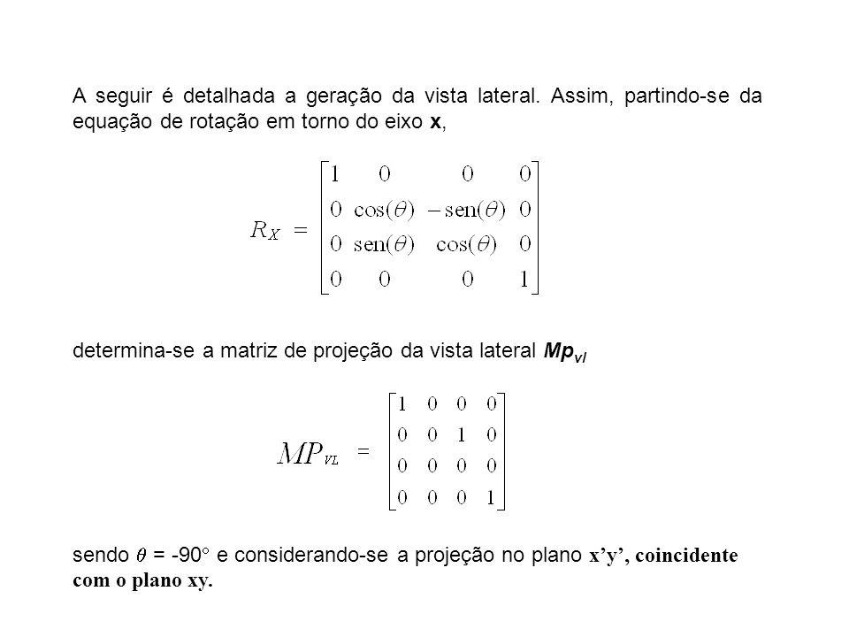 A seguir é detalhada a geração da vista lateral. Assim, partindo-se da equação de rotação em torno do eixo x, determina-se a matriz de projeção da vis