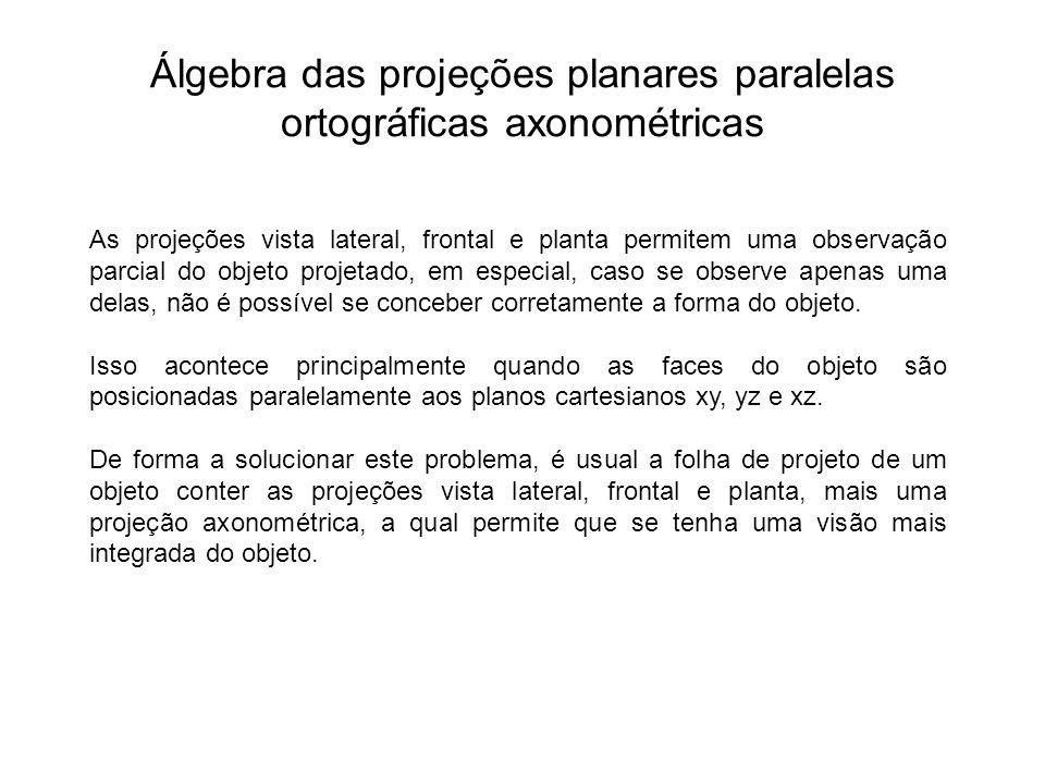Álgebra das projeções planares paralelas ortográficas axonométricas As projeções vista lateral, frontal e planta permitem uma observação parcial do objeto projetado, em especial, caso se observe apenas uma delas, não é possível se conceber corretamente a forma do objeto.